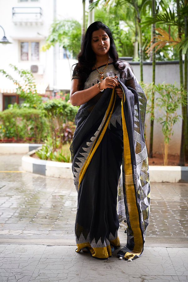 Black Linen Jamdani Saree with Silver Gold Zari