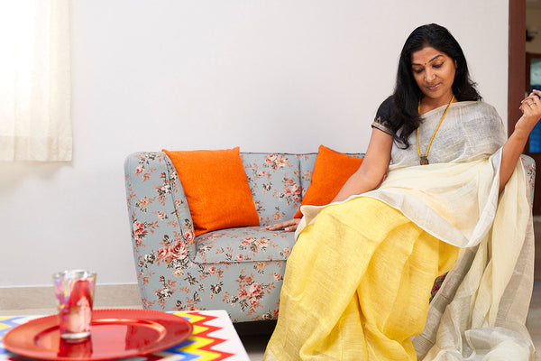 Off White & Yellow Partly Linen Saree - Indianloom