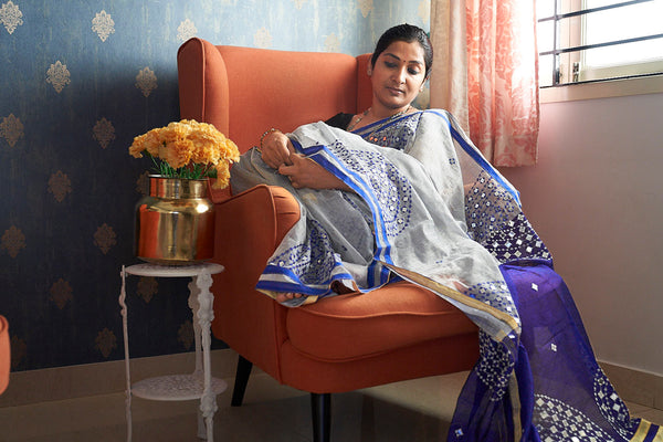 Silver & Blue Silk Cotton Saree with Mirror Foil Work