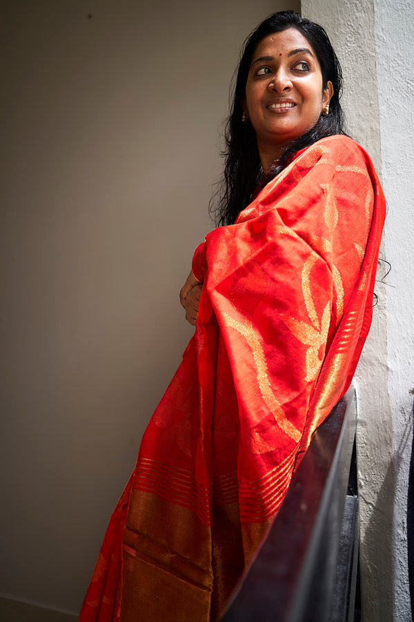 Red Handloom Silk Saree