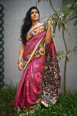 Pink Kalamkari Silk Saree - Indianloom