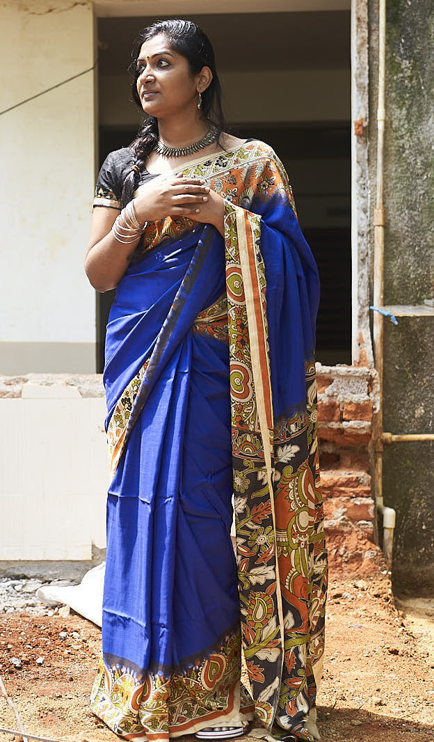 Dark Blue Kalamkari Silk Saree - Indianloom