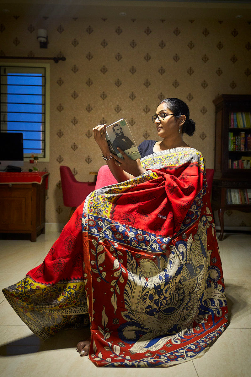 Red Kalamkari Silk Saree