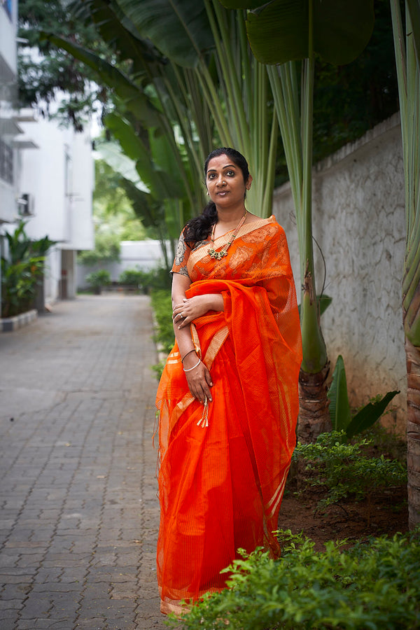 Orange Handloom Silk Blend Saree - Indianloom