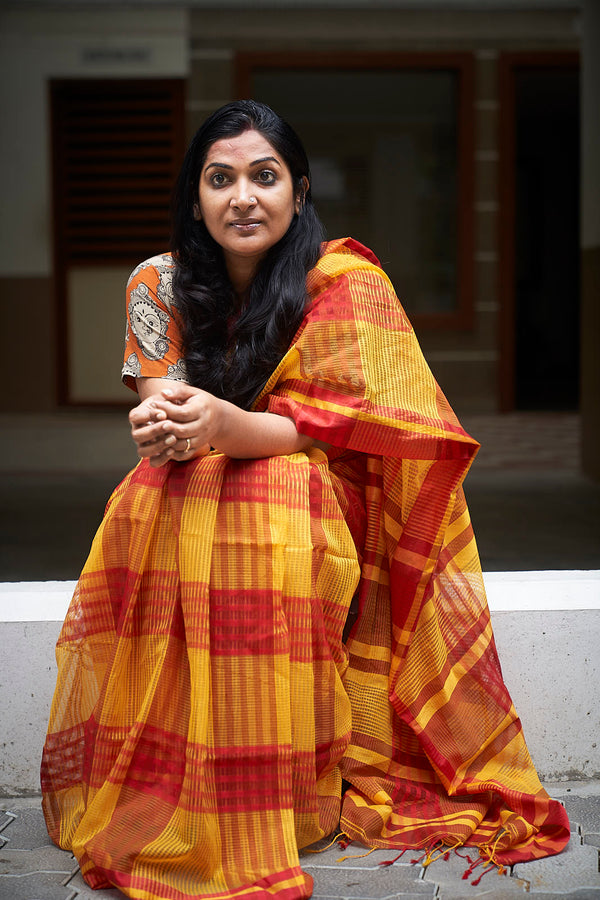 Yellow Handloom Silk Blend Saree
