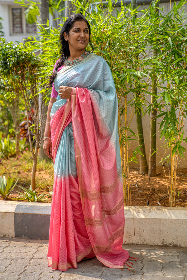 Blue & Pink Cotton Silk Full Weave Double Dyed Saree - Indianloom
