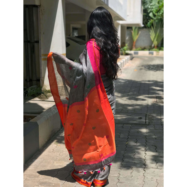 Dark Grey Linen Cotton Saree with Orange Pallu & Multicolor Booty - Indianloom