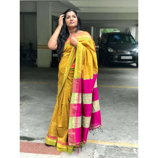 Mustard Yellow Cotton Saree with Jacquard Temple Border