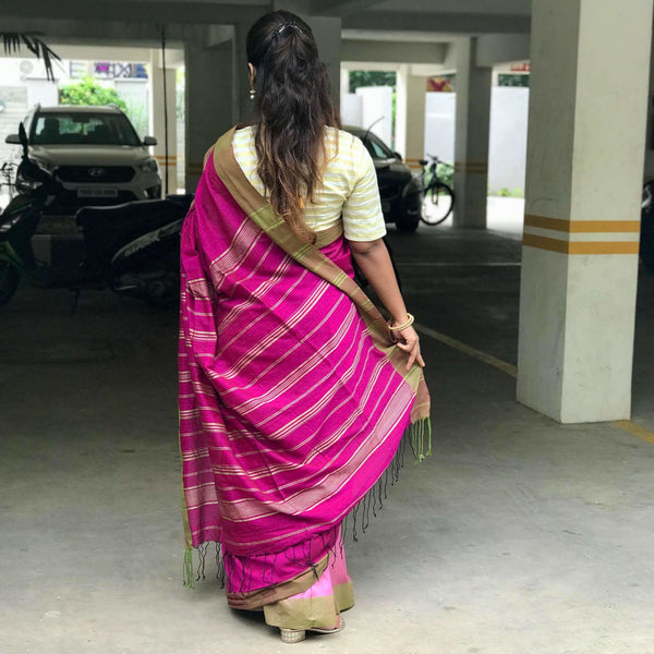 Magenta Partly Cotton Silk Saree - Indianloom