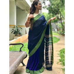 Dark Blue Partly Cotton Silk Saree - Indianloom