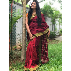 Maroon Partly Cotton Silk Saree - Indianloom
