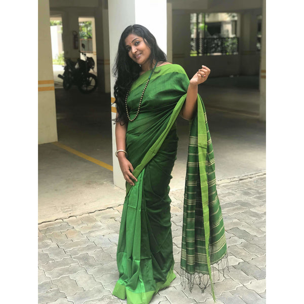 Dark Green Partly Cotton Silk Saree - Indianloom