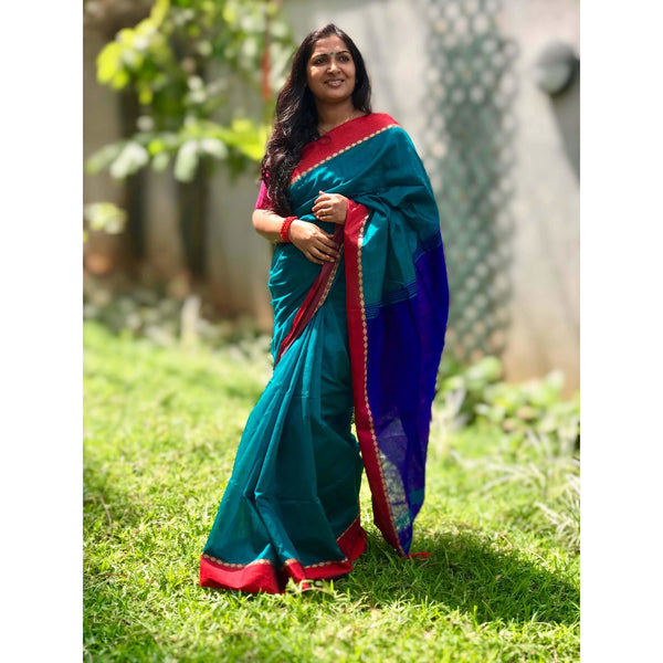 Peacock Blue Cotton Silk Saree - Indianloom