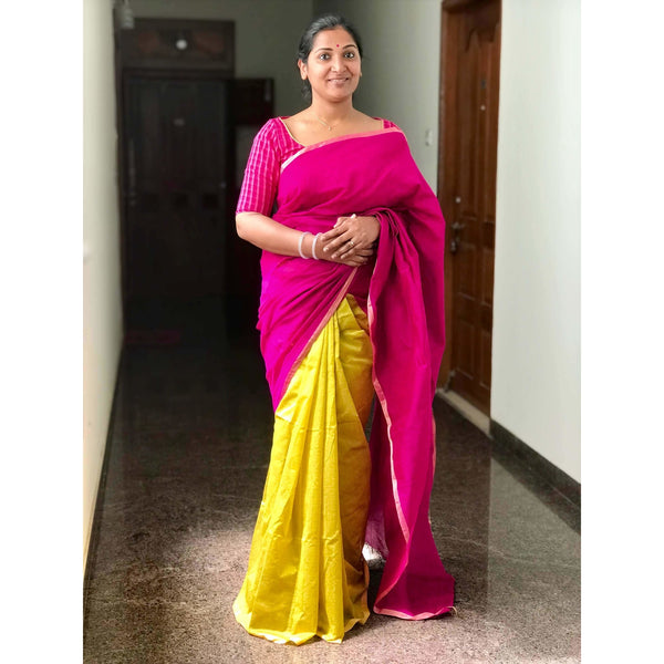 Magenta & Yellow Partly Cotton Silk Saree - Indianloom