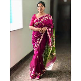 Magenta & Green Cotton Silk Saree with Applique Work