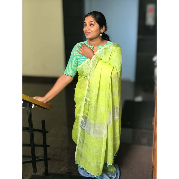 Linen Cotton Partly Saree with Silver Zari - Indianloom