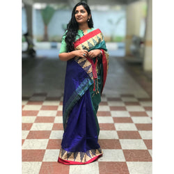 Blue Partly Cotton Silk Saree with Thread Temple Design - Indianloom