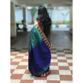 Blue Partly Cotton Silk Saree with Thread Temple Design