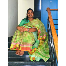 Green Cotton Saree without Blouse