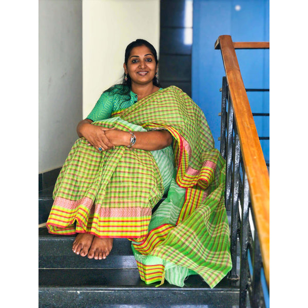 Green Cotton Saree without Blouse - Indianloom