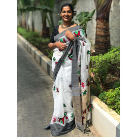 White & Black Cotton Silk by Noil Saree with Woollen Embroidery