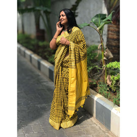 Yellow & Black Chequered Cotton Saree