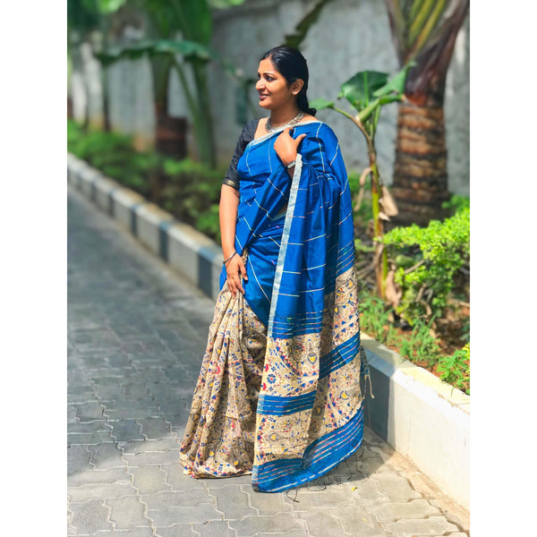 Blue Khes Cotton Silk Partly Saree - Indianloom
