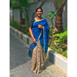 Blue Khes Cotton Silk Partly Saree