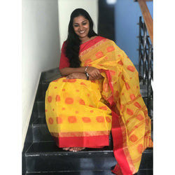 Yellow & Red Cotton Saree without Blouse