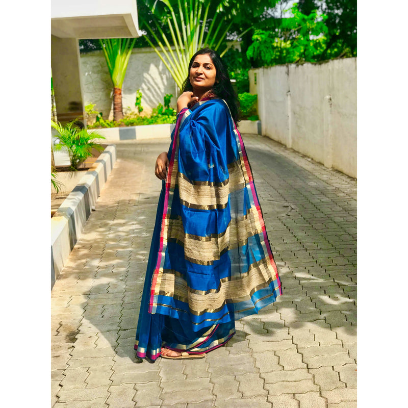 Blue Maheshwari Silk Saree with Gicha & Zari Pallu - Indianloom