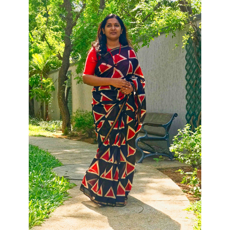 Black & Red Chanderi Silk Saree - Indianloom