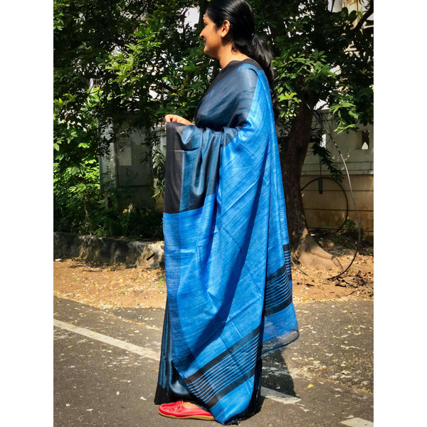 Blue Tussar Silk Saree with Jute Pallu - Indianloom