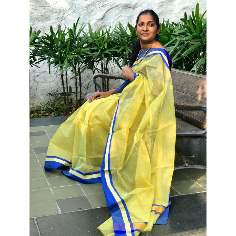 Yellow Kota Saree with Satin Border