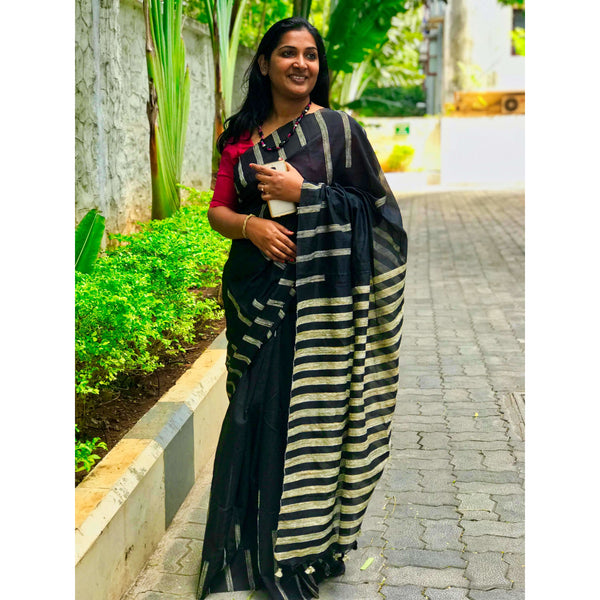 Black Silk & Cotton Mixed Saree with Piano Gicha Stripes - Indianloom