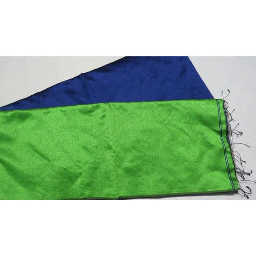 Blue Handloom Tussar & Cotton Mixed Saree with Green Pallu - Indianloom