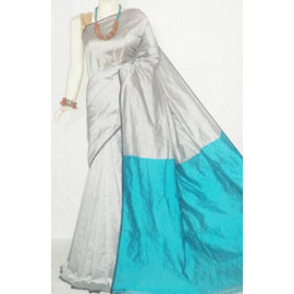 Silver & Blue Color Handloom Tussar And Cotton Mixed Saree - Indianloom