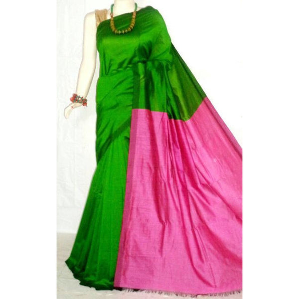 Green & Pink Color Handloom Tussar And Cotton Mixed Saree - Indianloom