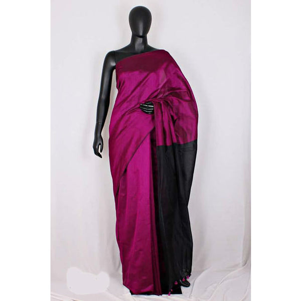 Handloom Tussar And Cotton Mixed Saree - Indianloom