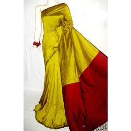 Yellow & Red Color Handloom Tussar And Cotton Mixed Saree - Indianloom