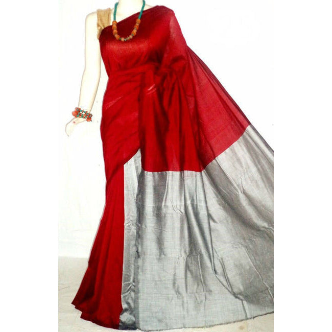 Red Handloom Tussar & Cotton Mixed Saree with Silver Pallu - Indianloom