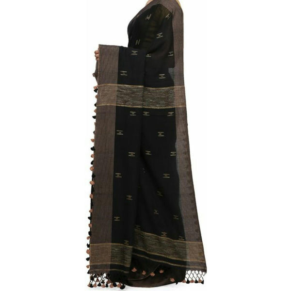 Black Soft Cotton Saree With Tassels - Indianloom
