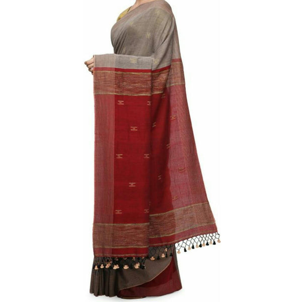 Grey & Maroon Soft Cotton Saree With Tassels - Indianloom