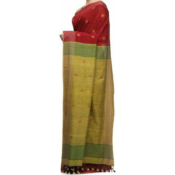 Maroon & Mehendi Green Soft Cotton Saree With Tassels - Indianloom