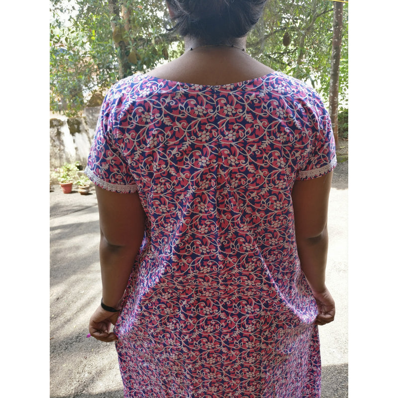 Floral cotton nighty - Indianloom