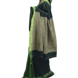Green Partly Khadi Cotton Saree with Gicha Pallu - Indianloom
