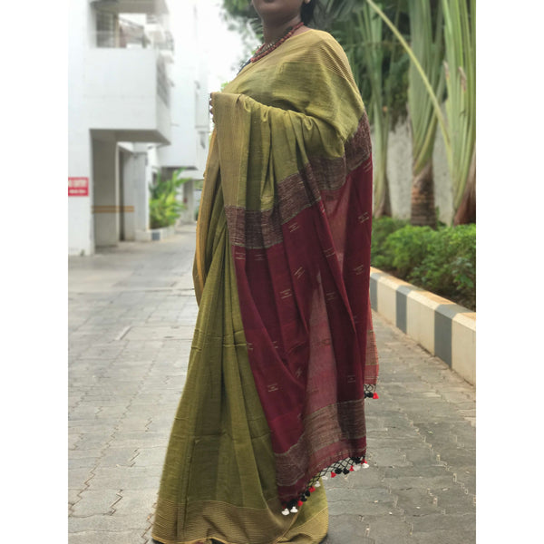 Mehendi Green & Maroon Soft Cotton Saree With Tassels - Indianloom