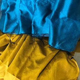 Yellow Handloom Tussar & Cotton Mixed Saree with Blue Pallu