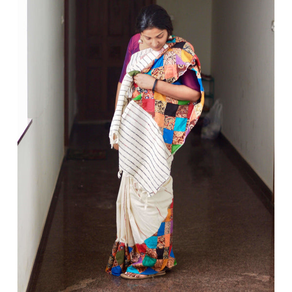 Off White Khes Cotton Saree with Applique Work - Indianloom