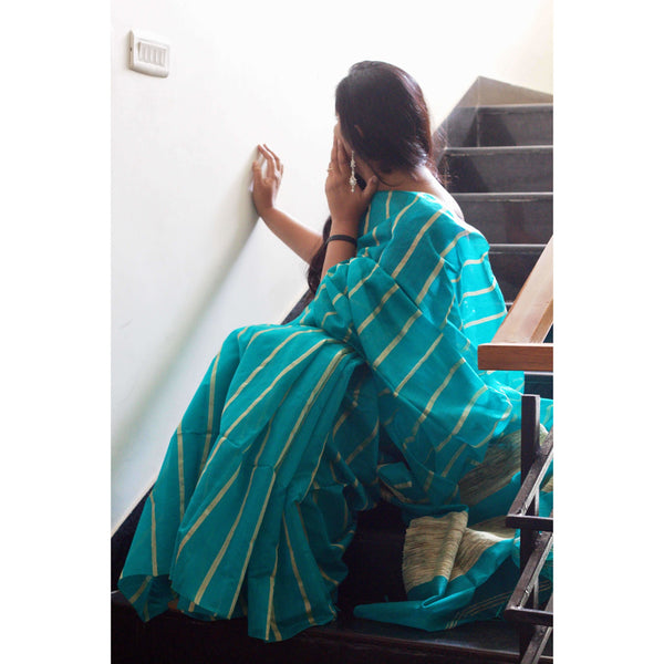 Ferosa Silk & Cotton Mixed Saree with Ghicha Stripes - Indianloom