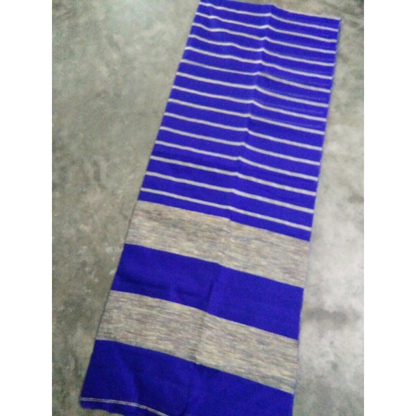 Royal Blue Silk & Cotton Mixed Saree with Ghicha Stripes
